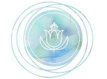 Loto circular de OM del símbolo de la meditación de la mandala de la acuarela stock de ilustración