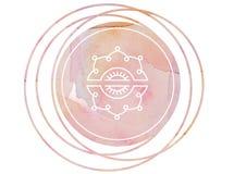 Loto circular del símbolo de la meditación de la mandala de la acuarela stock de ilustración