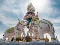 Loto de la elevación de la estatua de los elefantes para elogiar al rey de Tailandia Imagen de archivo libre de regalías
