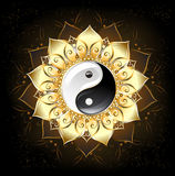 Loto de oro de Yin yang ilustración del vector