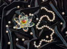 Loto di Cristal con la collana della perla Immagine Stock Libera da Diritti
