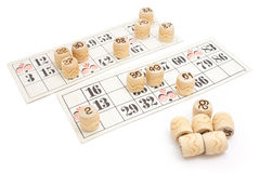 Loto game(Bingo) cardboards isolated. Old French loto game cardboards and numbers isolated on white background Stock Photos