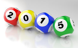 2015 loto. New Years 2015 lottery balls 3d render Royalty Free Stock Images