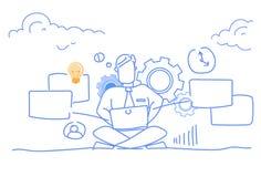 Loto que se sienta del hombre de negocios usando el freelancer en línea de proceso de trabajo duro del hombre de la comunicación  stock de ilustración