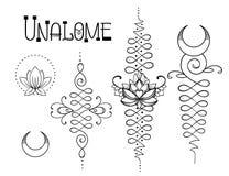 Lotosowa i Święta geometria Unamole hinduski symbol mądrość i pa Obrazy Royalty Free