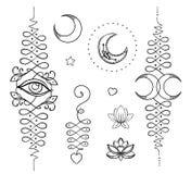 Lotosowa i Święta geometria Unamole hinduski symbol mądrość i pa Obraz Royalty Free