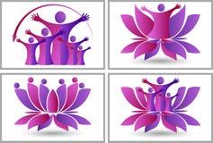 Lotosowa logo kolekcja royalty ilustracja