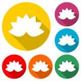 Lotosowa roślina, Lotosowa sylwetki ikona, kolor ikona z długim cieniem Obraz Stock