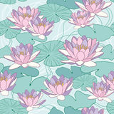 Lotosowi kwiaty w bezszwowym wzorze Fotografia Royalty Free