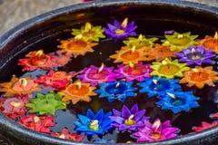 Lotosowi kwiaty zrobią od świeczek dla spławowej wody zdjęcie stock