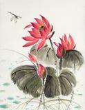 Lotosowy kwiat i dragonfly Ilustracji