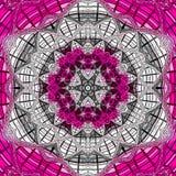 Lotosowy mandala z Paisley jarzynowym motywem jednakowym połówka Yin Yang symbol ilustracja wektor