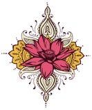 Lotosowy Paisley henny projekt Zdjęcia Royalty Free