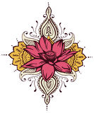 Lotosowy Paisley henny projekt ilustracji