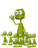 Lots Of Aliens 5. An image of lots of little waving cloned aliens Royalty Free Stock Photos