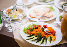 Lots appetizers on a table in a restaurant Royalty Free Stock Photo