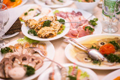 Lots appetizers on a table in a restaurant Royalty Free Stock Photography