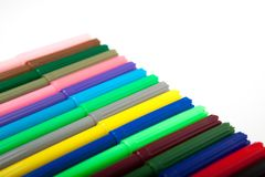 Lots of assorted colors marker pens isolated on white background Stock Photo