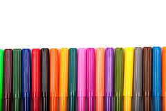 Lots of assorted colors marker pens isolated on white background Royalty Free Stock Images