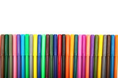 Lots of assorted colors marker pens isolated on white background Royalty Free Stock Photos