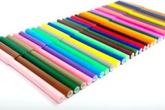 Lots of assorted colors marker pens isolated on white background Stock Images