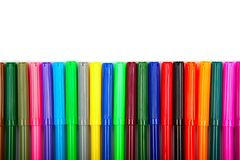 Lots of assorted colors marker pens isolated on white background Stock Image
