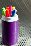 Lots of Assorted Colors Marker Pens. On metal background Stock Images