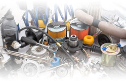 Lots of auto spare parts Royalty Free Stock Photo