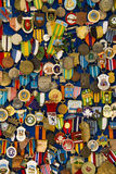 Lots Of Badge and Crest. Cesme,Izmir,Turkey-August 19, 2014: A lot of badge and crest in Alacati Bazaar, in Alacati Street, in Cesme Royalty Free Stock Photography