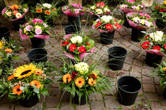 Lots of beautiful flower bouquets for sell on a stall Royalty Free Stock Photos