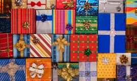 Lots of beautiful presents background Royalty Free Stock Photo