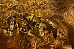 Lots of beautiful stalactites in the Baradla Cave in Hungary.  stock photos