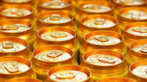 Lots of beer cans. Close-up, may be used as background Royalty Free Stock Photo