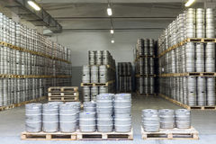 Lots of beer kegs in stock brewery Ochakovo Royalty Free Stock Photography