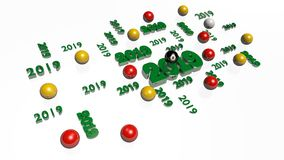 Lots of Billiard 8 Ball 2019 Designs with several Balls. On a White Background royalty free illustration