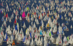 Lots of boats. Boats at Barcolana festival, Trieste, Italy Royalty Free Stock Image