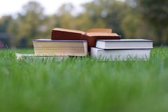 Lots of books on the grass Stock Photos