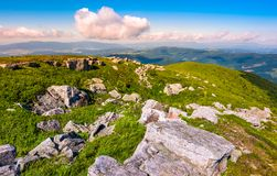Lots of boulders on an alpine meadow. Beautiful summer scenery on high altitude in mountains Royalty Free Stock Images