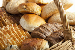 Lots of bread. In a rotan basket Stock Images