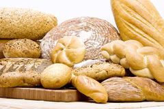 Lots of bread. On white Stock Photo