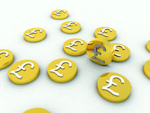 Lots Of British Pound Coins 2 Royalty Free Stock Photos