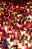 Lots of candles in the cemetery. Lots of candles in the cemetery at night Stock Photo