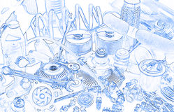 Lots of car parts, sketch Stock Photography