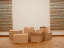 Lots of cardboard boxes. Moving to a new home. 3d illustration vector illustration
