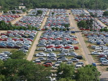 Lots Of Cars On Lot. Lot full of small cars, taken from high viewpoint.  Photo taken in Gurgaon, India Royalty Free Stock Photos