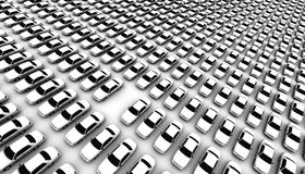 Lots of Cars, One Missing. Super high resolution 3D render of hundreds of generic cars, one is missing, DOF, focus is on missing car Stock Photo