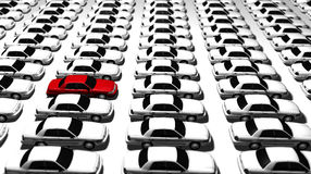 Lots of Cars, One Red! Stock Image