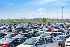 Lots of cars parking. At airport carpark Stock Photo