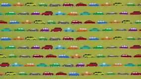 Lots of Cartoon Vector Cars Driving in Rush Hour. Cartoon Vector Cars Driving on a Countryside Road stock video footage