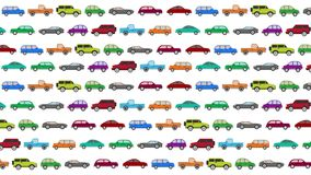 Lots of Cartoon Vector Cars Driving in Rush Hour on a White Background stock video